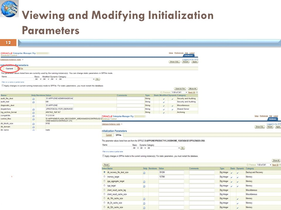 Viewing and Modifying Initialization Parameters Information Systems Department 12