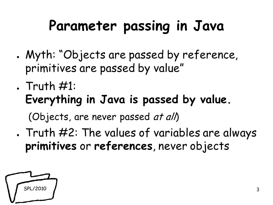 SPL/2010 Parameter passing in Java ● Myth: Objects are passed by reference, primitives are passed by value ● Truth #1: Everything in Java is passed by value.