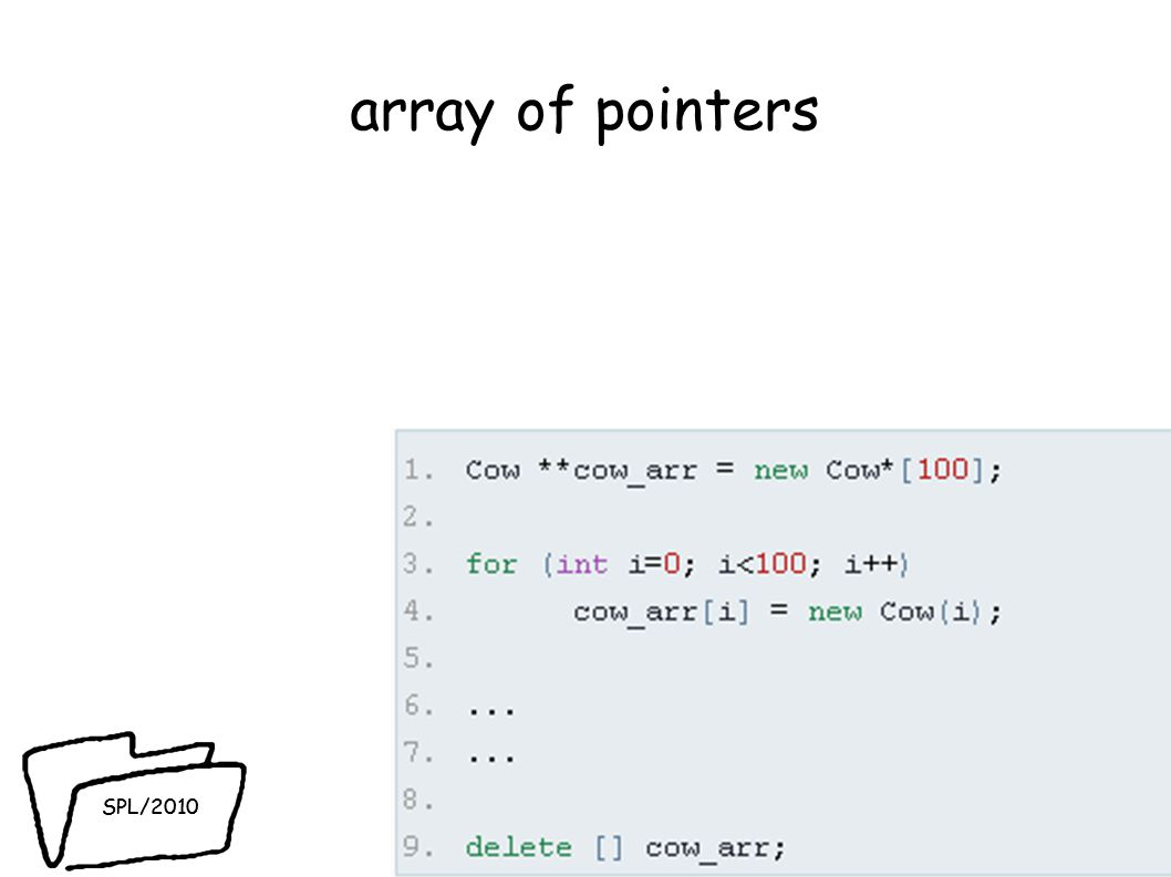 SPL/2010 array of pointers 51