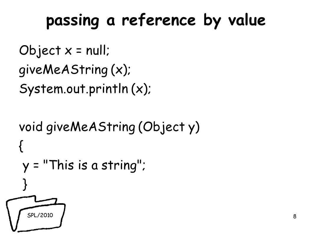 SPL/2010 passing a reference by value Object x = null; giveMeAString (x); System.out.println (x); void giveMeAString (Object y) { y = This is a string ; } 8