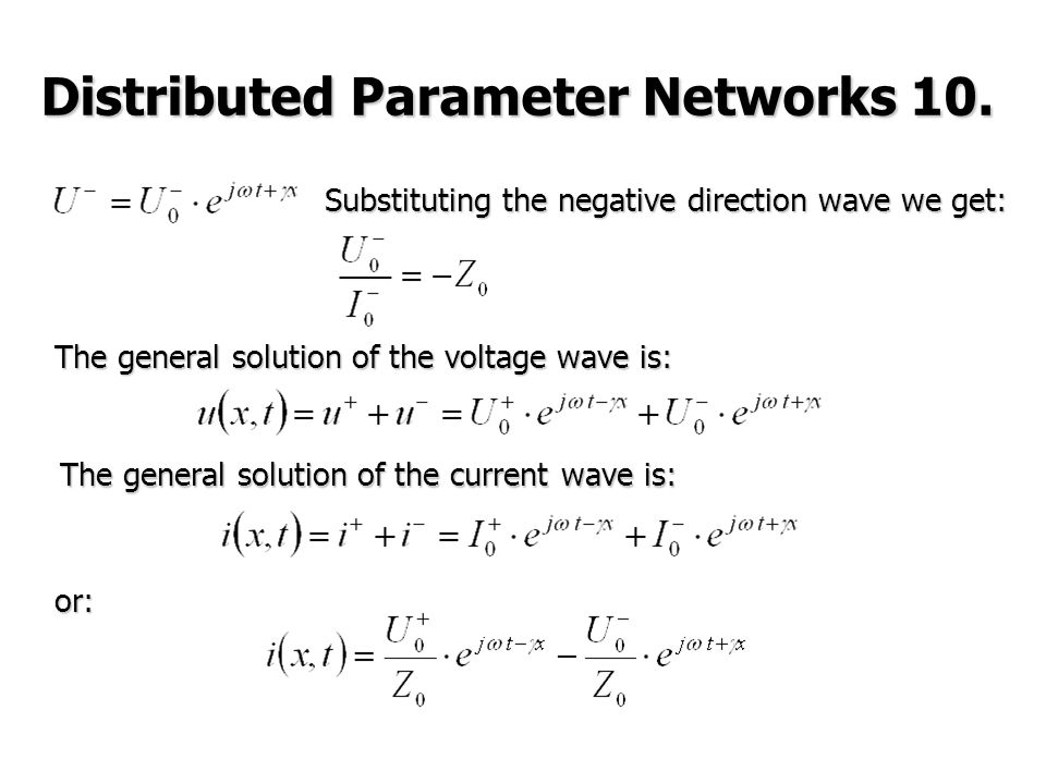 Substituting the negative direction wave we get: The general solution of the voltage wave is: or: Distributed Parameter Networks 10.