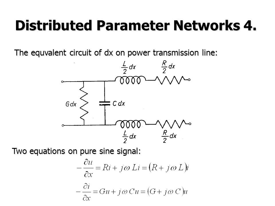 The equvalent circuit of dx on power transmission line: Two equations on pure sine signal: Distributed Parameter Networks 4.