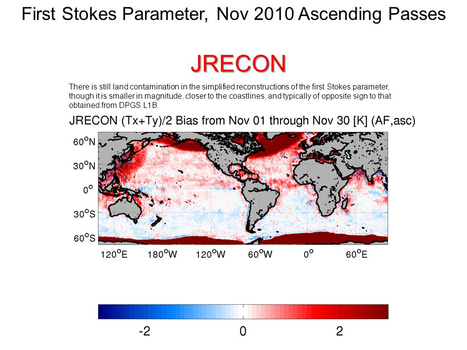 JRECON There is still land contamination in the simplified reconstructions of the first Stokes parameter, though it is smaller in magnitude, closer to