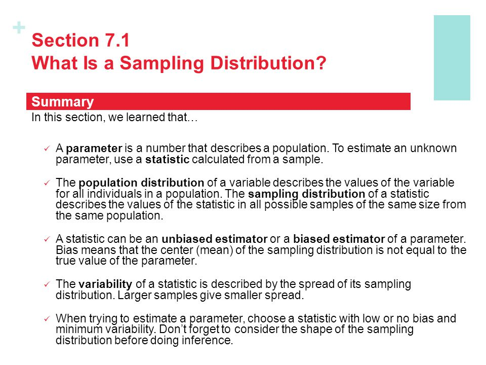 + Section 7.1 What Is a Sampling Distribution.