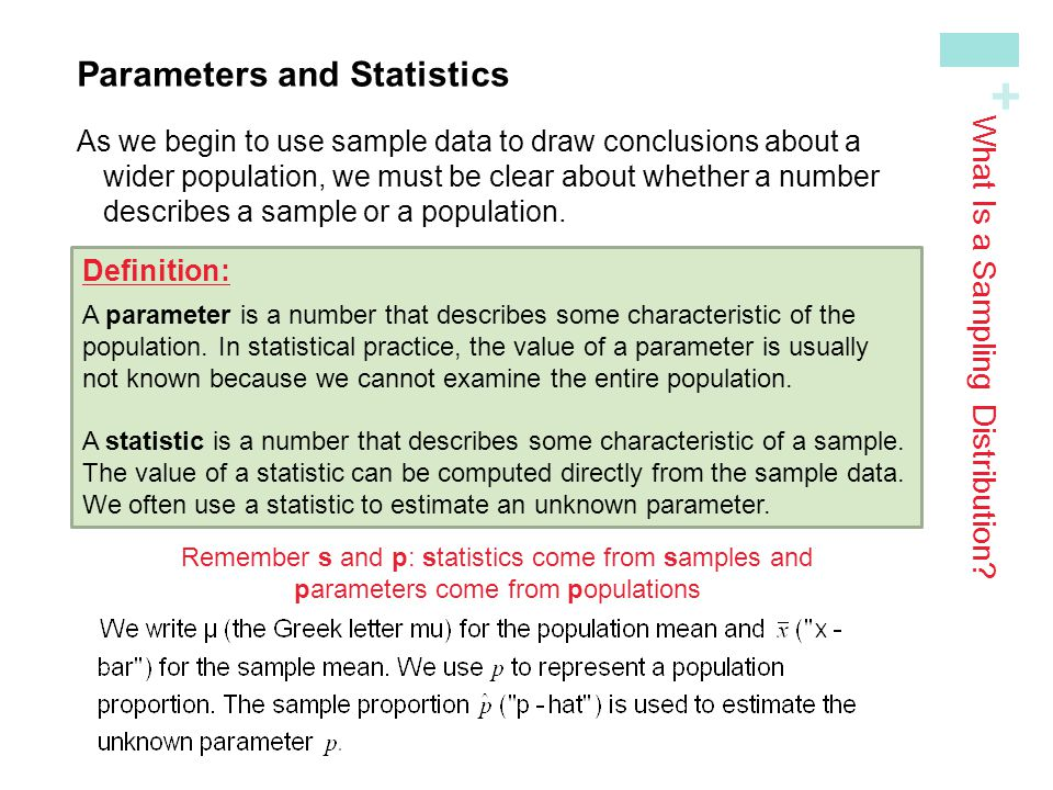 + Parameters and StatisticsAs we begin to use sample data to draw conclusions about a wider population, we must be clear about whether a numberdescribes a sample or a population.