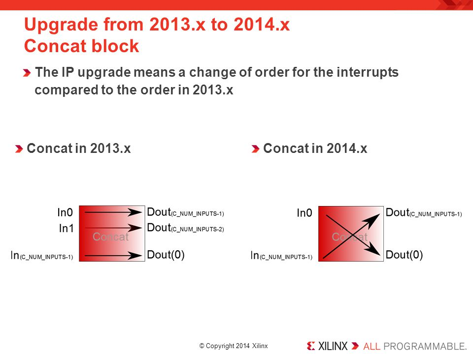 © Copyright 2014 Xilinx. Upgrade from 2013.x to 2014.x Concat block The IP upgrade means a change of order for the interrupts compared to the order in
