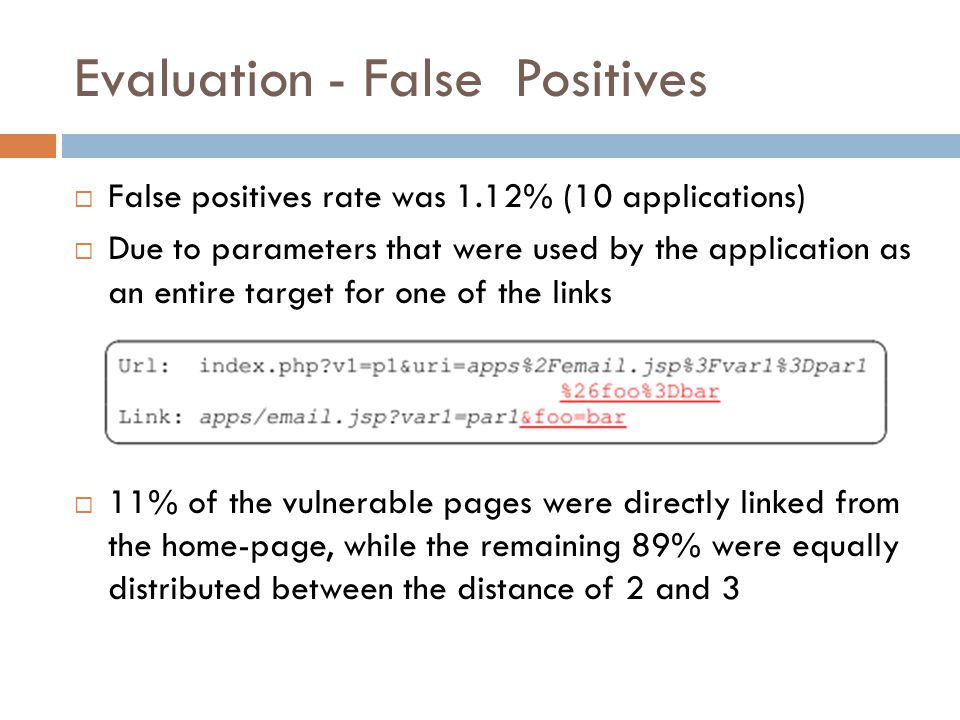 Evaluation - False Positives  False positives rate was 1.12% (10 applications)  Due to parameters that were used by the application as an entire target for one of the links  11% of the vulnerable pages were directly linked from the home-page, while the remaining 89% were equally distributed between the distance of 2 and 3