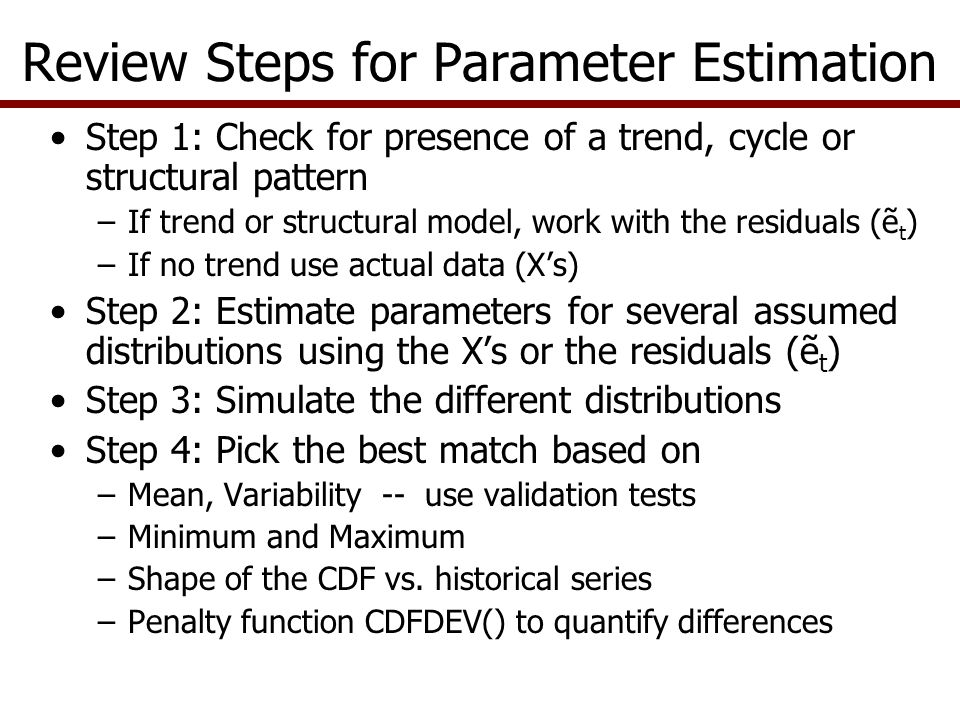 Univariate Parameter Estimation When do you use UPES.