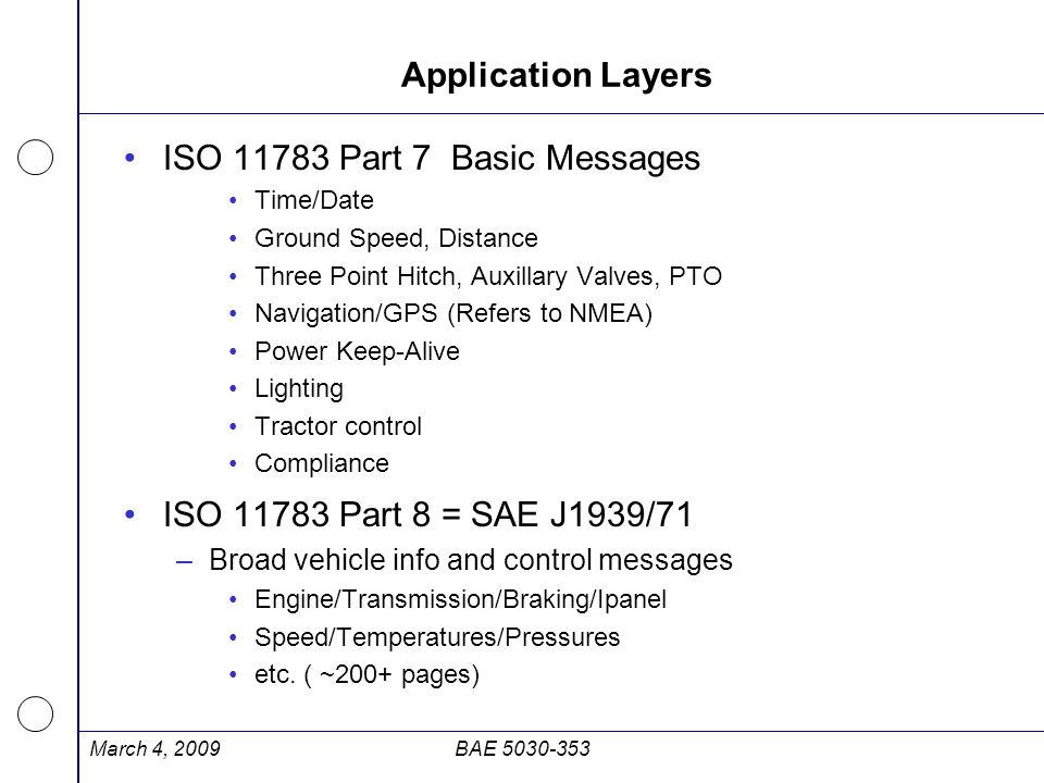 Application Layers ISO 11783 Part 7 Basic Messages Time/Date Ground Speed, Distance Three Point Hitch, Auxillary Valves, PTO Navigation/GPS (Refers to