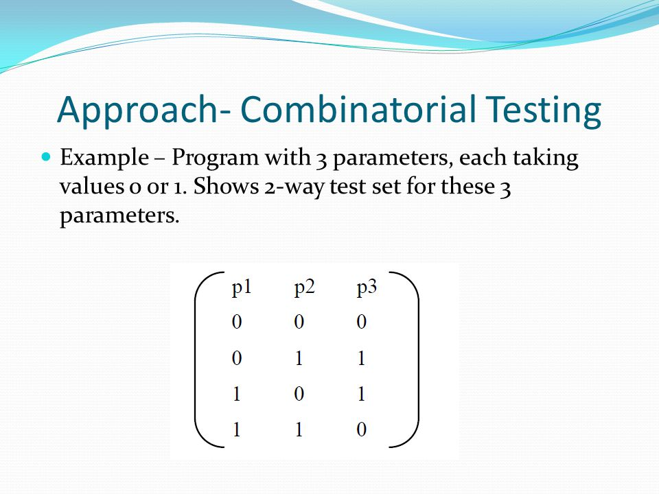 Approach- Combinatorial Testing Example – Program with 3 parameters, each taking values 0 or 1. Shows 2-way test set for these 3 parameters.