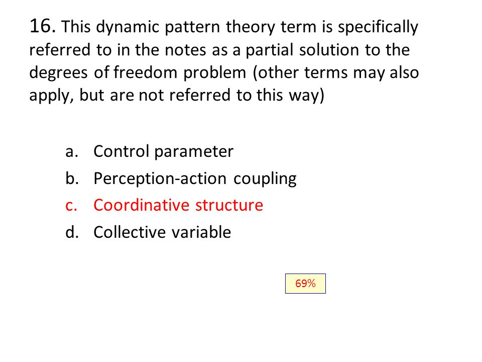 16. This dynamic pattern theory term is specifically referred to in the notes as a partial solution to the degrees of freedom problem (other terms may