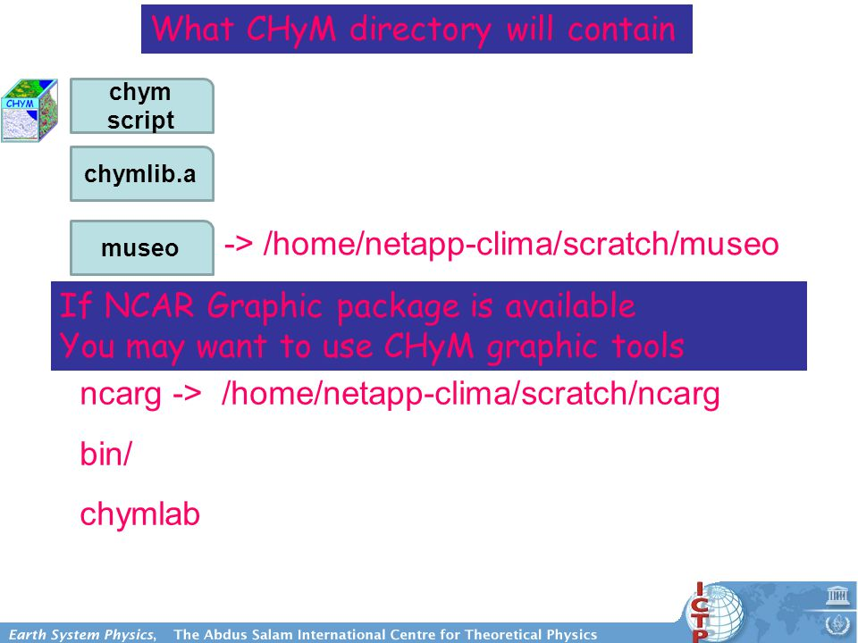 -> /home/netapp-clima/scratch/museo What CHyM directory will contain ncarg -> /home/netapp-clima/scratch/ncarg bin/ chymlab If NCAR Graphic package is available You may want to use CHyM graphic tools chymlib.a chym script museo