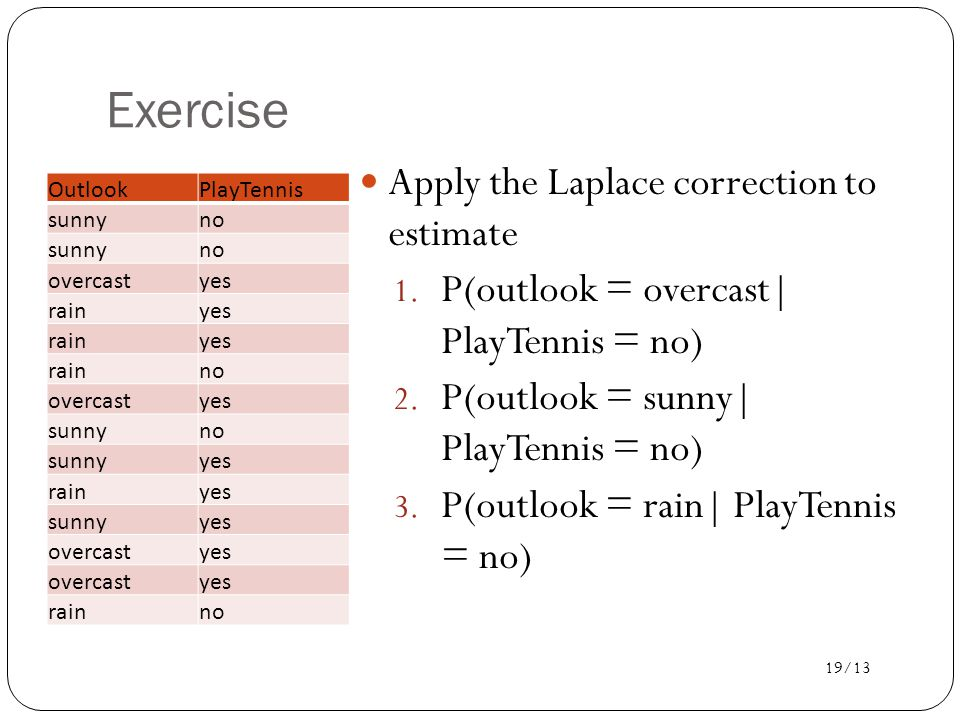 19/13 Exercise Apply the Laplace correction to estimate 1.