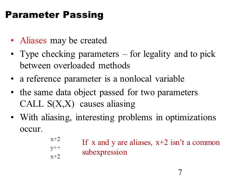 38 Parameter Passing Conventions Actual/Formal Parameter Correspondence: 1.