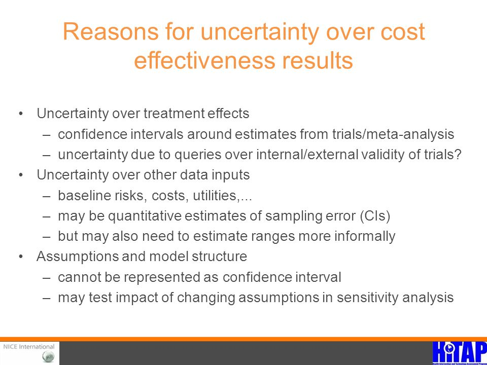 Reasons for uncertainty over cost effectiveness results Uncertainty over treatment effects –confidence intervals around estimates from trials/meta-ana