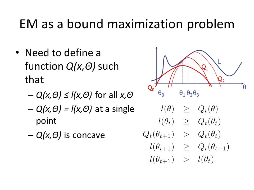 EM as bound maximization Claim: – for GMM likelihood – The GMM MLE estimate is a convex lower bound
