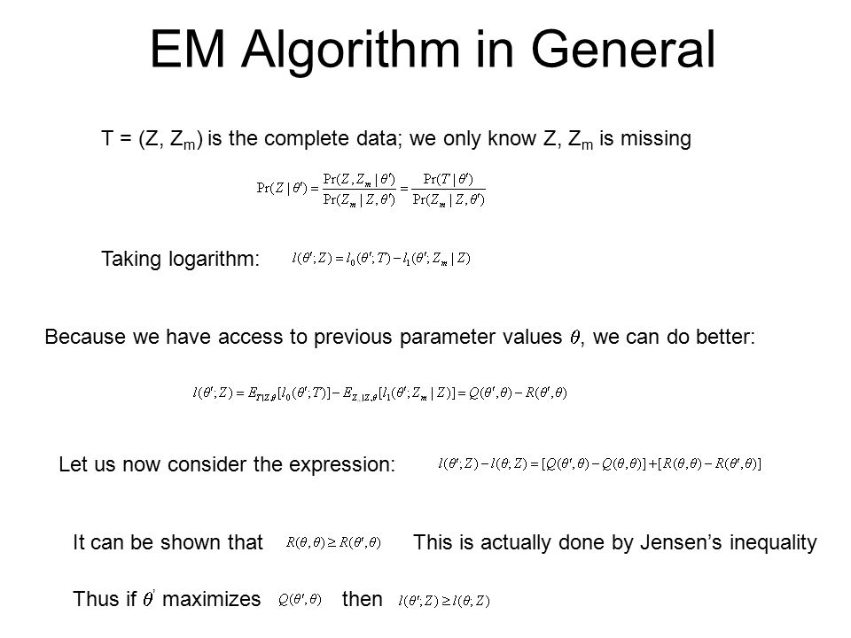 EM Algorithm in General T = (Z, Z m ) is the complete data; we only know Z, Z m is missing Taking logarithm: Because we have access to previous parameter values , we can do better: Let us now consider the expression: It can be shown that Thus if  ' maximizes then This is actually done by Jensen's inequality