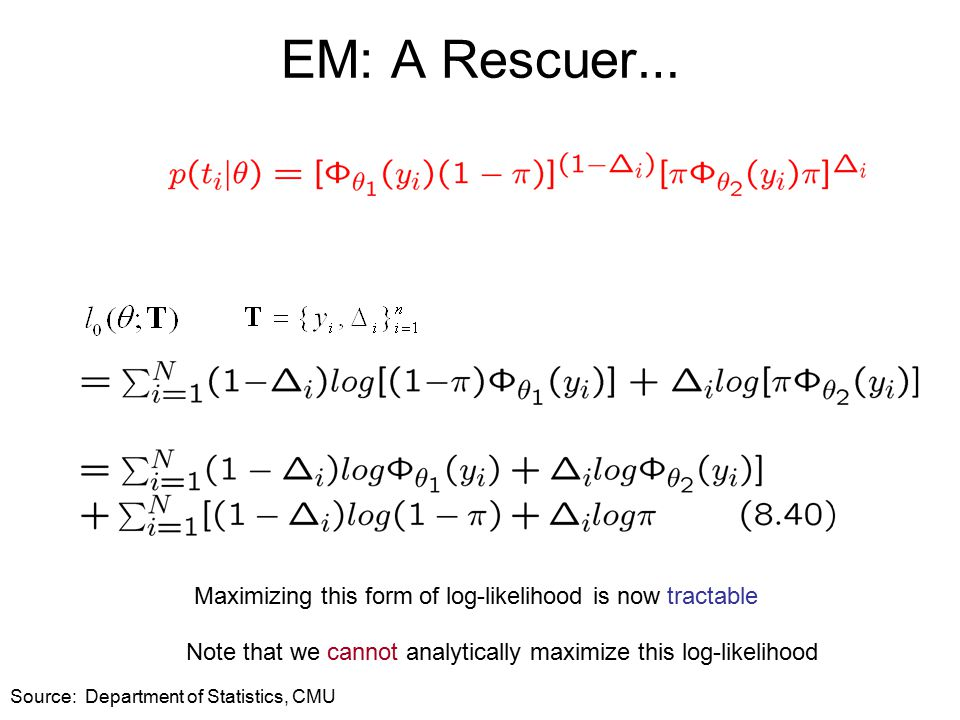 EM: A Rescuer … Maximizing this form of log-likelihood is now tractable Note that we cannot analytically maximize this log-likelihood Source: Department of Statistics, CMU