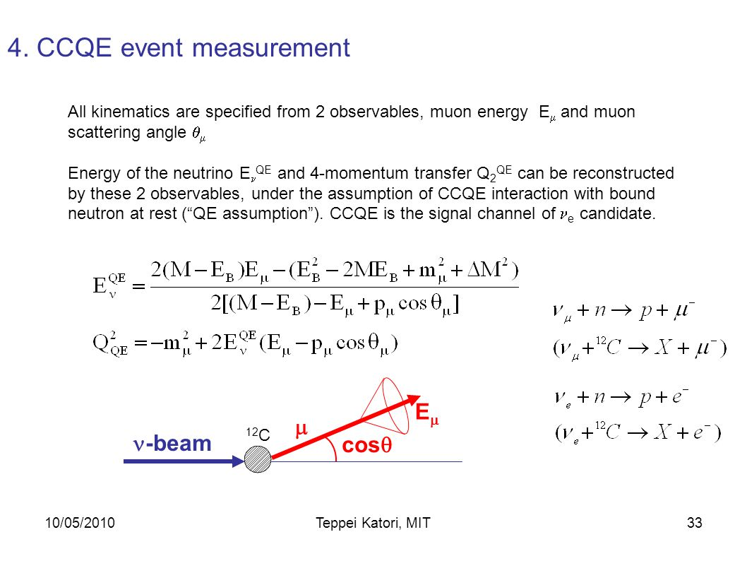 10/05/2010Teppei Katori, MIT32 19.2  s beam trigger window with the 1.6  s spill Multiple hits within a ~100 ns window form subevents  CCQE interactions ( +n   +p) with characteristic two subevent structure from stopped   e e  e Number of tank hits for CCQE event 4.