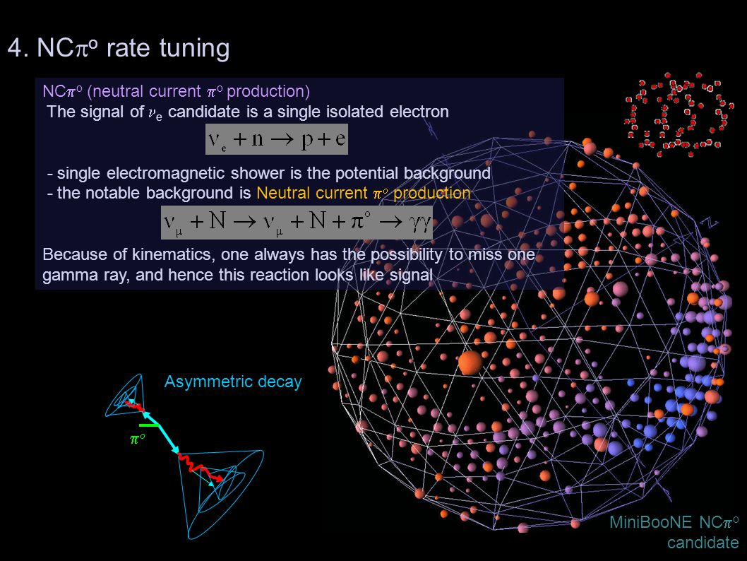 10/05/2010Teppei Katori, MIT84 NC  o (neutral current  o production) The signal of e candidate is a single isolated electron - single electromagneti
