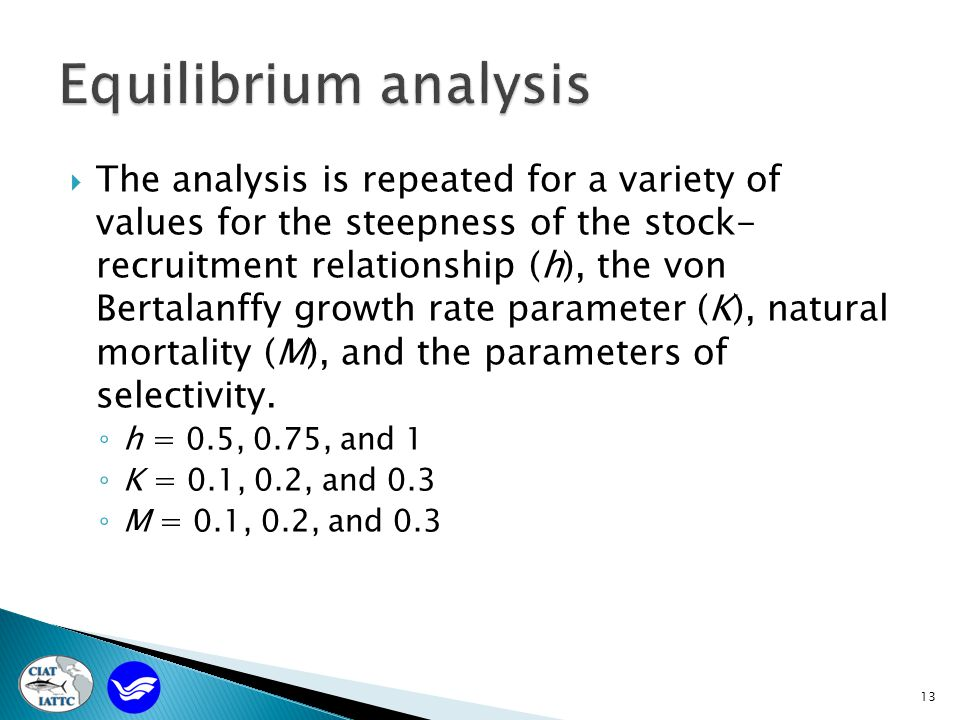  The analysis is repeated for a variety of values for the steepness of the stock- recruitment relationship (h), the von Bertalanffy growth rate parameter (K), natural mortality (M), and the parameters of selectivity.