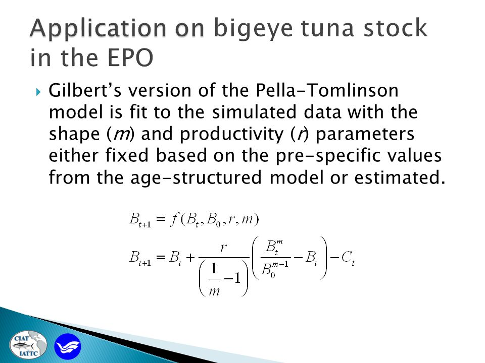  Gilbert's version of the Pella-Tomlinson model is fit to the simulated data with the shape (m) and productivity (r) parameters either fixed based on the pre-specific values from the age-structured model or estimated.