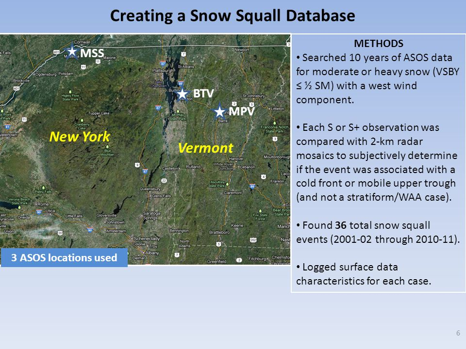 BTV MPV MSS New York Vermont METHODS Searched 10 years of ASOS data for moderate or heavy snow (VSBY ≤ ½ SM) with a west wind component.