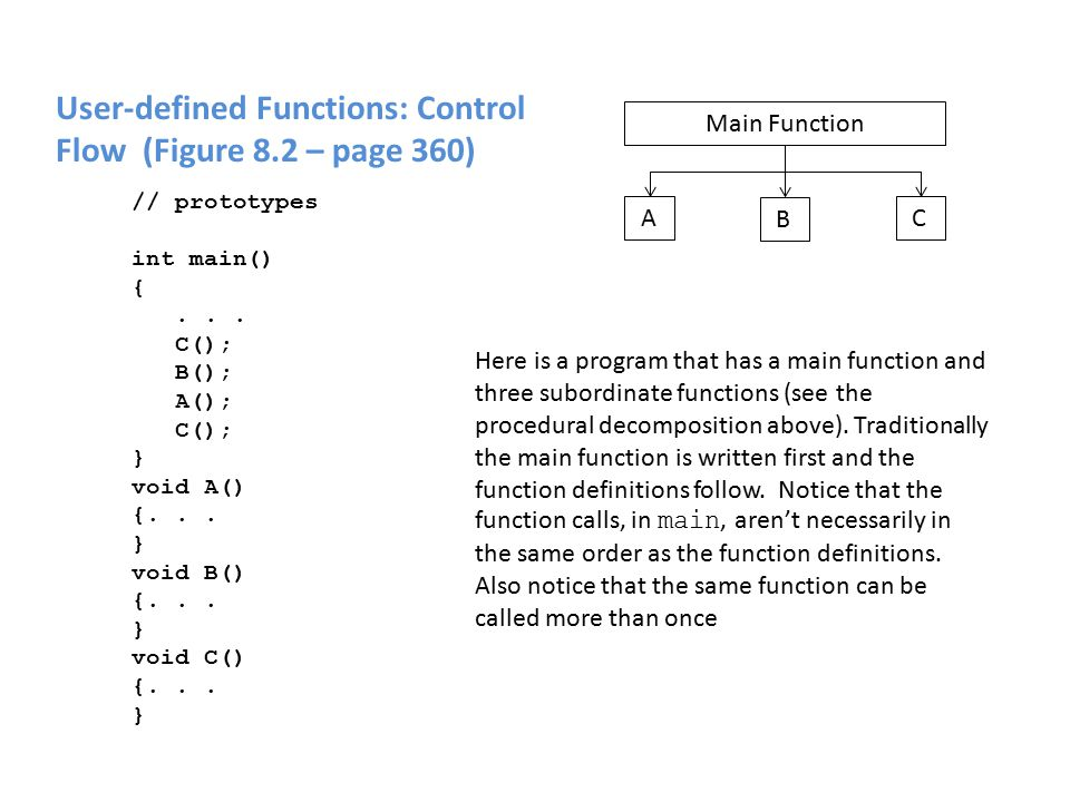 User-defined Functions: Control Flow (Figure 8.2 – page 360) Main Function A C B // prototypes int main() {...