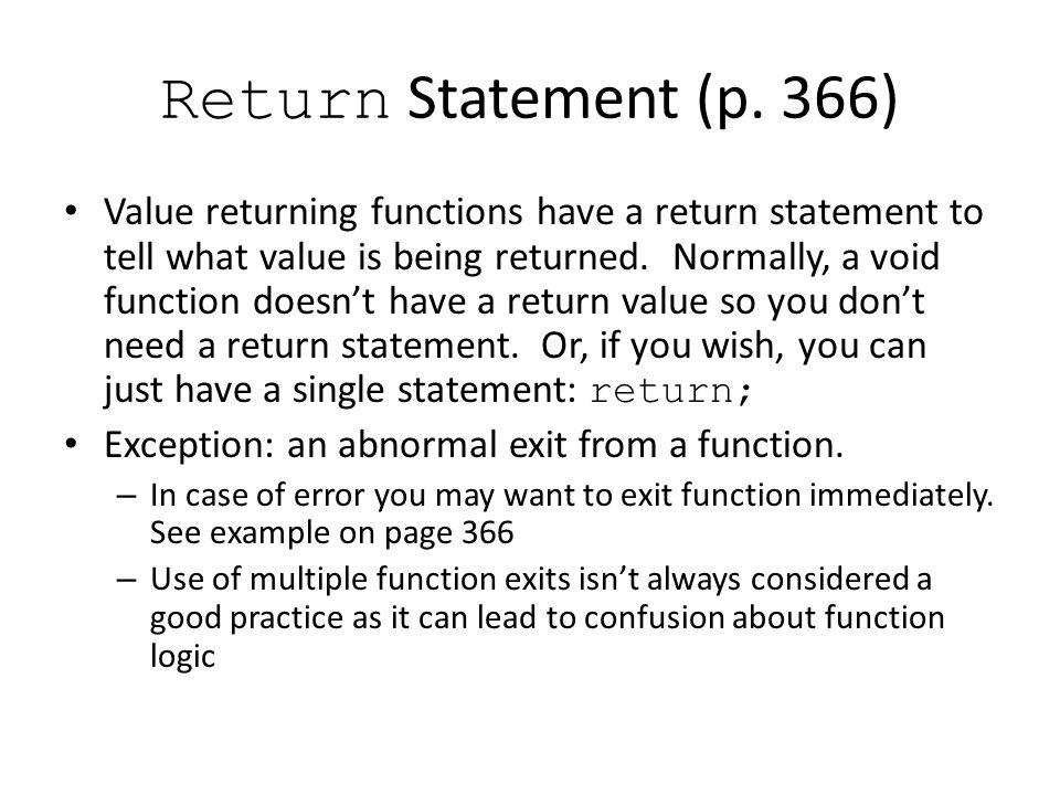 Return Statement (p.