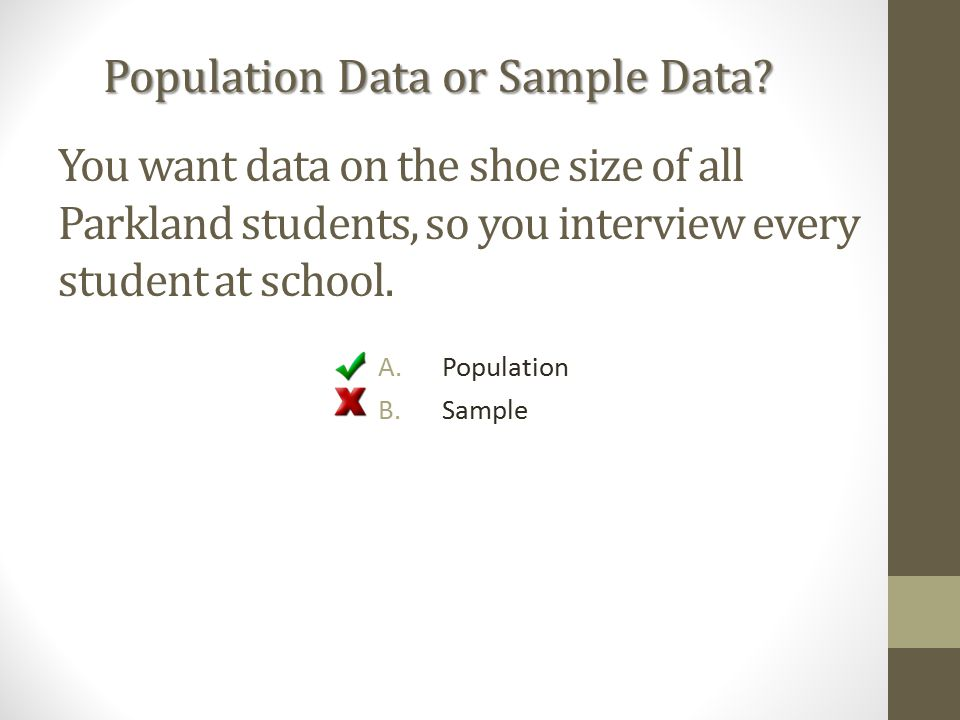 You want data on the shoe size of all Parkland students, so you interview every student at school.