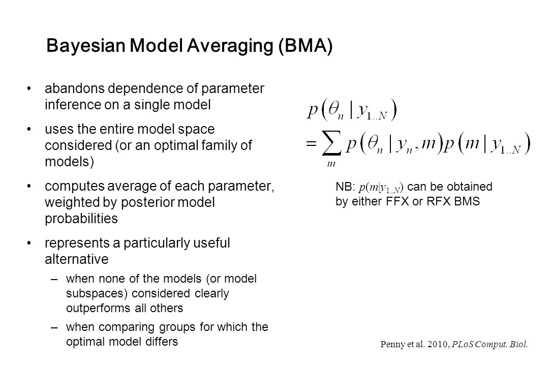 Bayesian Model Averaging (BMA) abandons dependence of parameter inference on a single model uses the entire model space considered (or an optimal fami