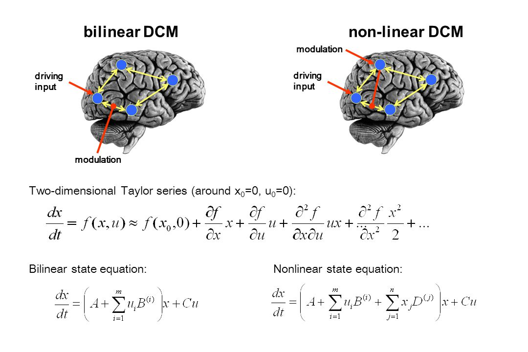 bilinear DCM Bilinear state equation: driving input modulation driving input modulation non-linear DCM Two-dimensional Taylor series (around x 0 =0, u 0 =0): Nonlinear state equation: