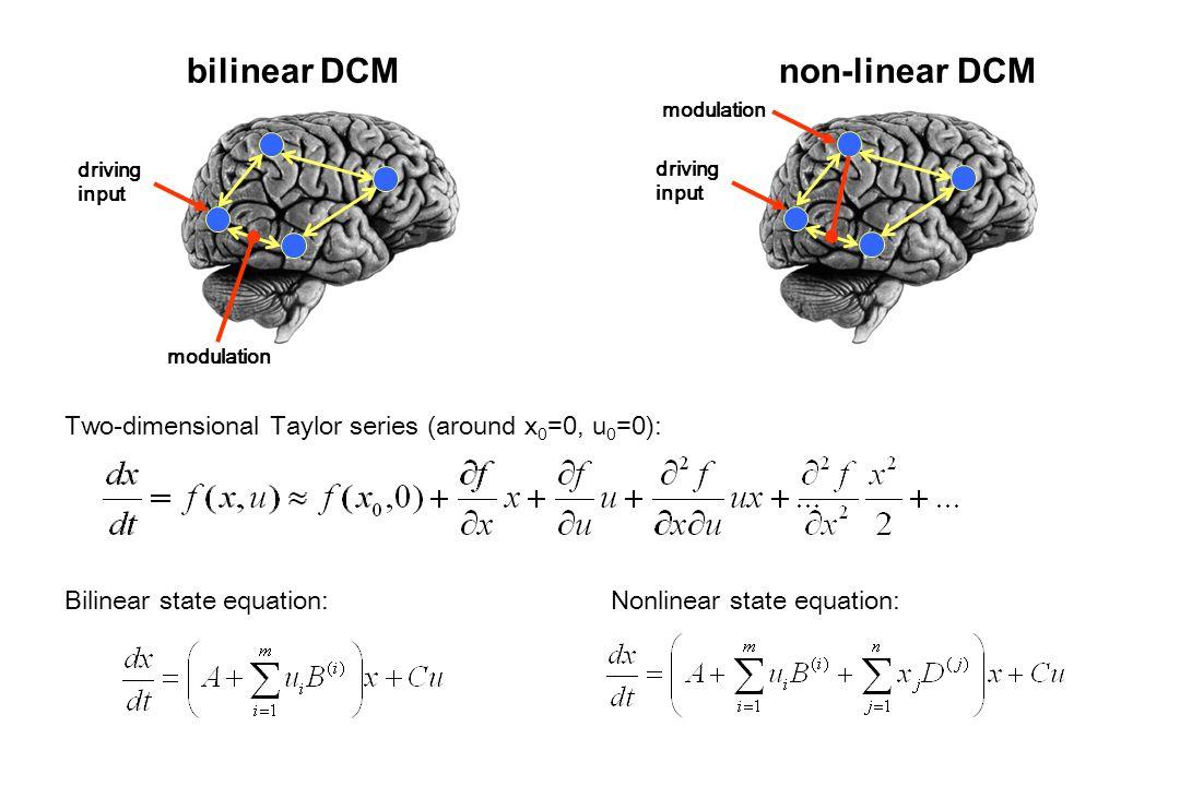 bilinear DCM Bilinear state equation: driving input modulation driving input modulation non-linear DCM Two-dimensional Taylor series (around x 0 =0, u