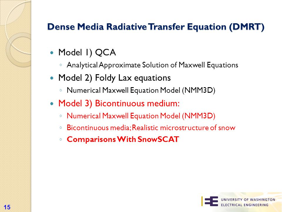 Dense Media Radiative Transfer Equation (DMRT) Model 1) QCA ◦ Analytical Approximate Solution of Maxwell Equations Model 2) Foldy Lax equations ◦ Numerical Maxwell Equation Model (NMM3D) Model 3) Bicontinuous medium: ◦ Numerical Maxwell Equation Model (NMM3D) ◦ Bicontinuous media; Realistic microstructure of snow ◦ Comparisons With SnowSCAT 15