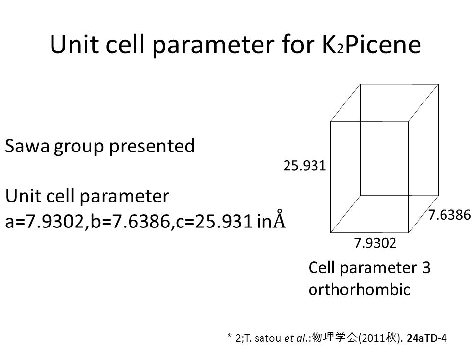 Unit cell parameter for K 2 Picene 7.9302 7.6386 25.931 Cell parameter 3 orthorhombic * 2;T.