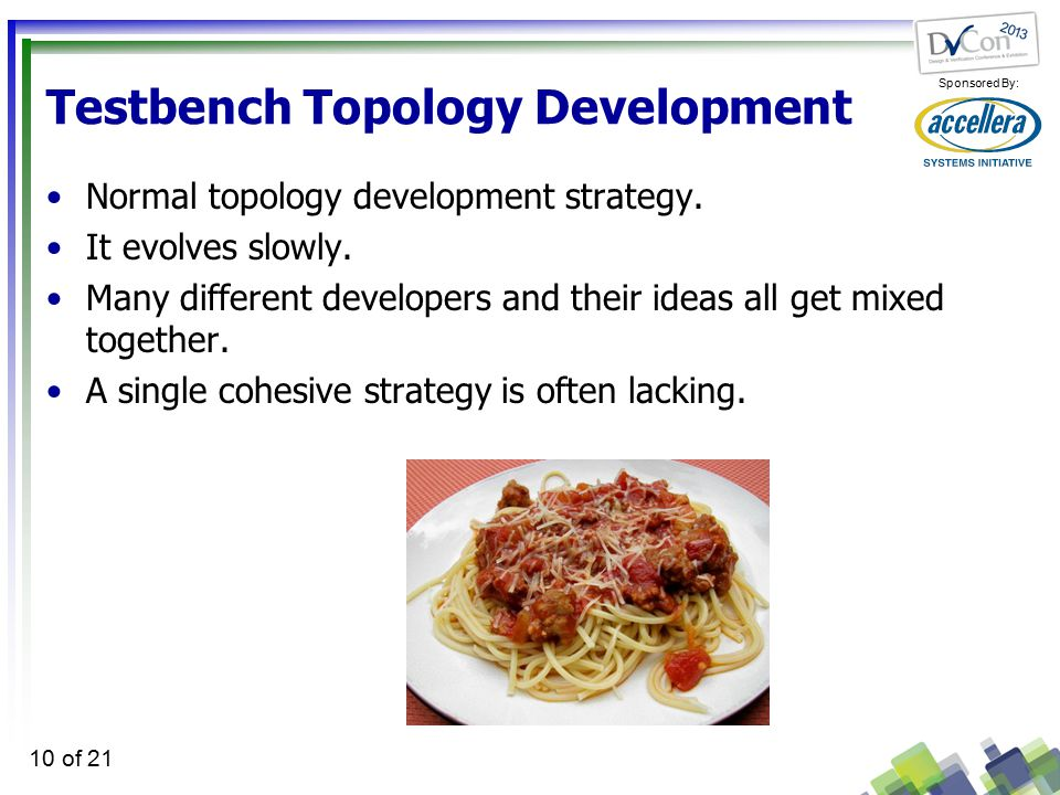 Sponsored By: 10 of 21 Testbench Topology Development Normal topology development strategy.
