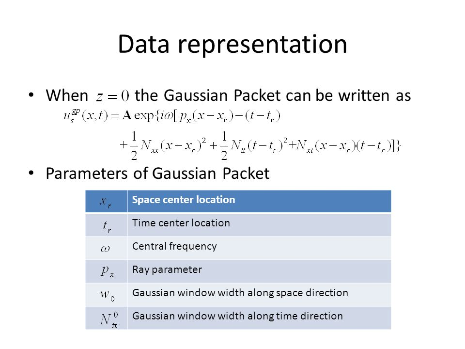 Data representation When the Gaussian Packet can be written as Parameters of Gaussian Packet Space center location Time center location Central frequency Ray parameter Gaussian window width along space direction Gaussian window width along time direction