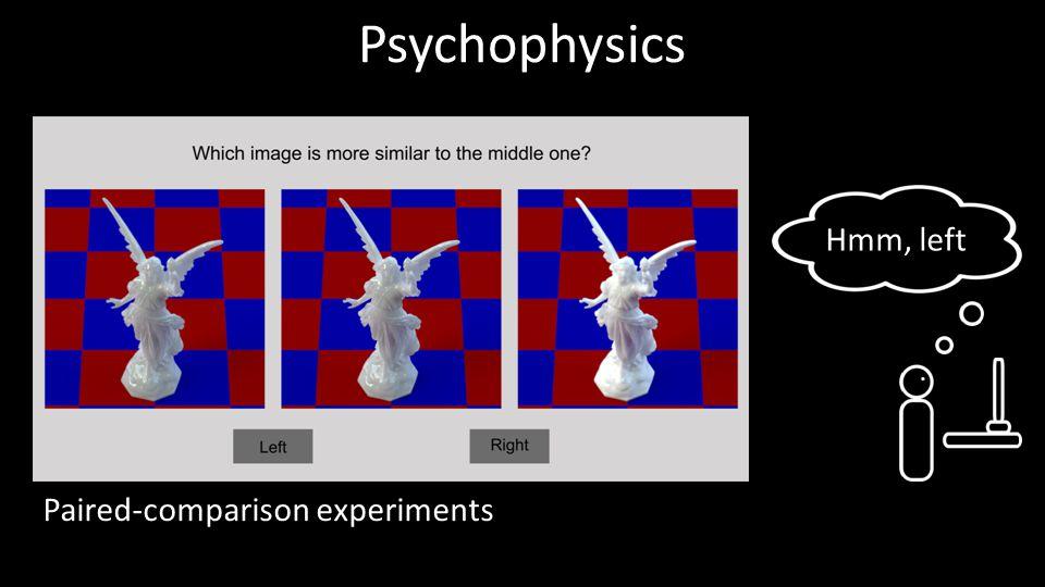 Psychophysics Paired-comparison experiments Hmm, left 17