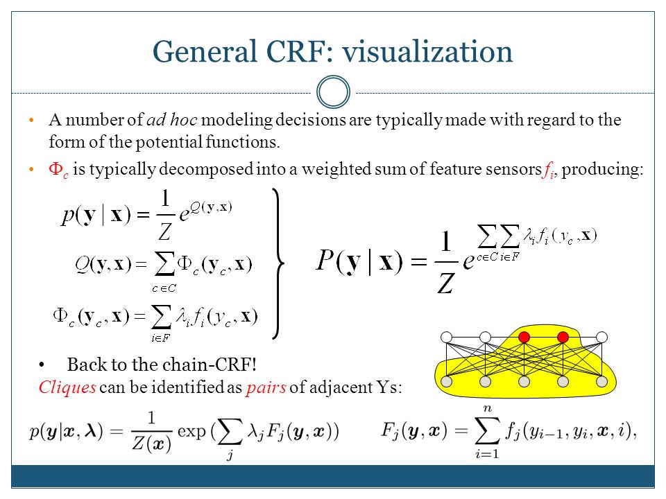 General CRF: visualization A number of ad hoc modeling decisions are typically made with regard to the form of the potential functions.