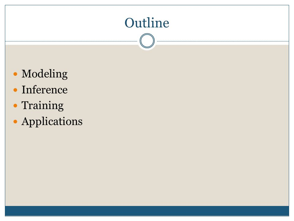 Outline Modeling Inference Training Applications