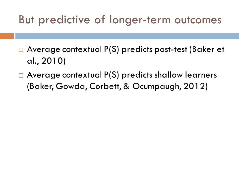 But predictive of longer-term outcomes  Average contextual P(S) predicts post-test (Baker et al., 2010)  Average contextual P(S) predicts shallow learners (Baker, Gowda, Corbett, & Ocumpaugh, 2012)