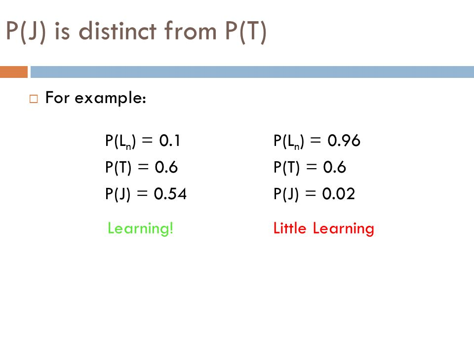 P(J) is distinct from P(T)  For example: P(L n ) = 0.1 P(T) = 0.6 P(J) = 0.54 P(L n ) = 0.96 P(T) = 0.6 P(J) = 0.02 Learning!Little Learning