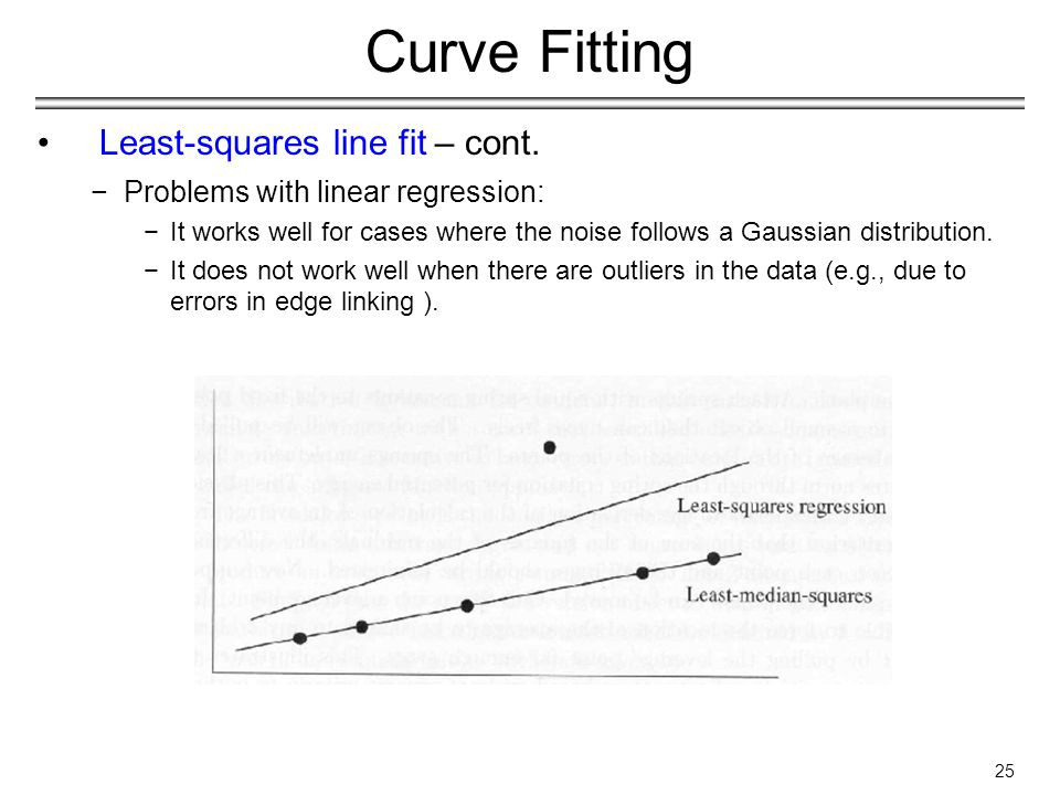 25 Curve Fitting Least-squares line fit – cont.