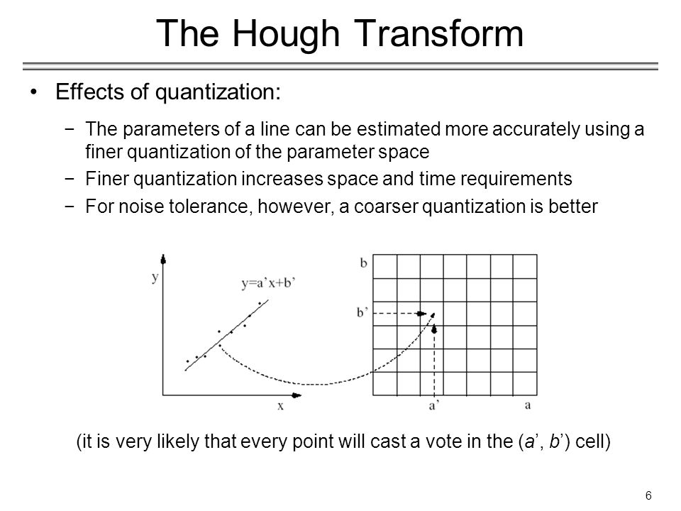 6 The Hough Transform Effects of quantization: −The parameters of a line can be estimated more accurately using a finer quantization of the parameter space −Finer quantization increases space and time requirements −For noise tolerance, however, a coarser quantization is better (it is very likely that every point will cast a vote in the (a', b') cell)