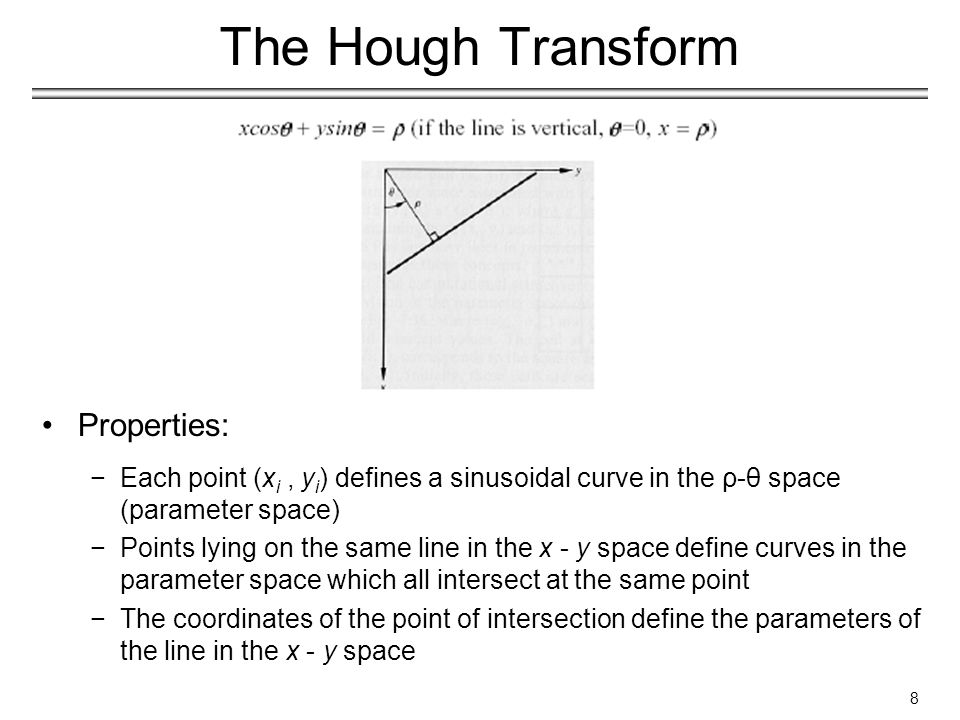 19 The Generalized Hough Transform Advantages −The generalized Hough transform is essentially a method for object recognition.