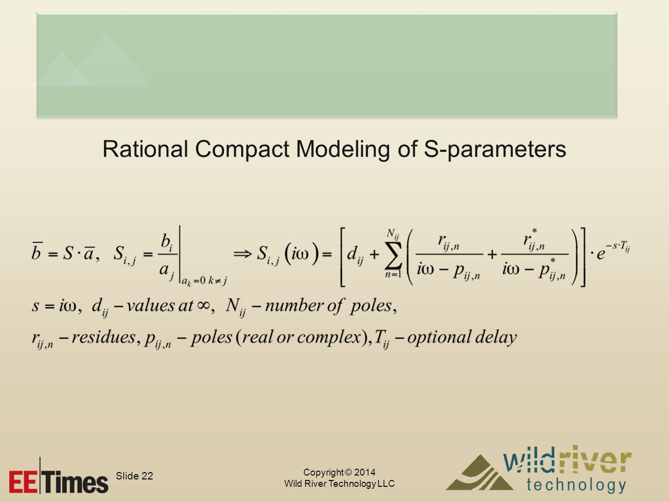 Copyright © 2014 Wild River Technology LLC Slide 22 Rational Compact Modeling of S-parameters