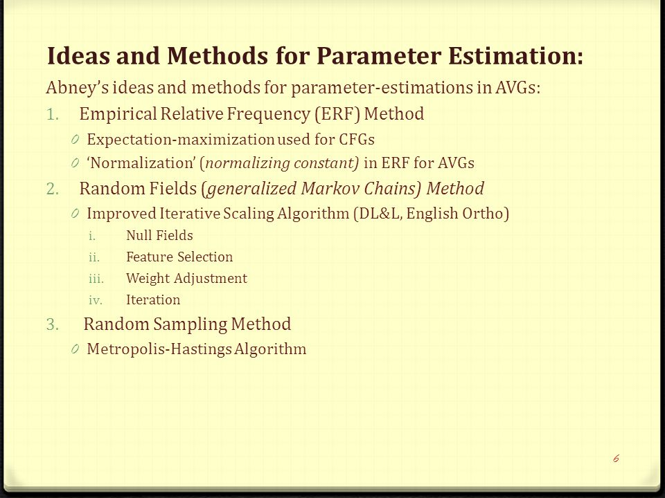 Ideas and Methods for Parameter Estimation: Abney's ideas and methods for parameter-estimations in AVGs: 1.