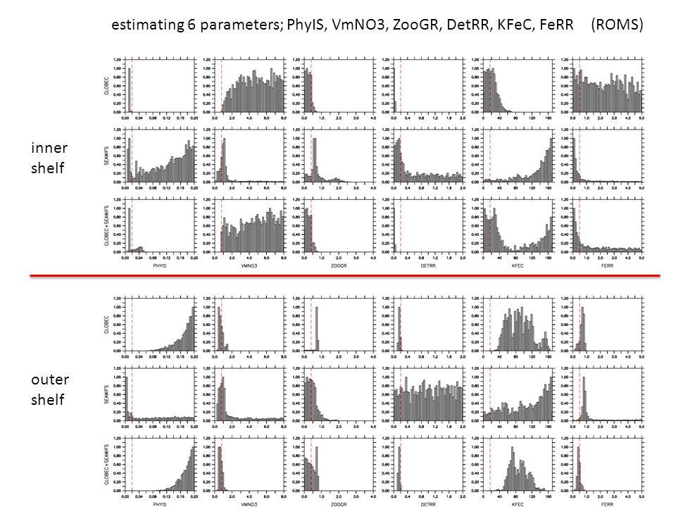 estimating 6 parameters; PhyIS, VmNO3, ZooGR, DetRR, KFeC, FeRR inner shelf outer shelf (ROMS)