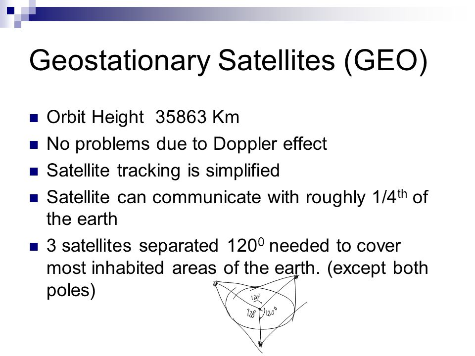 Geostationary Satellites (GEO) Orbit Height 35863 Km No problems due to Doppler effect Satellite tracking is simplified Satellite can communicate with roughly 1/4 th of the earth 3 satellites separated 120 0 needed to cover most inhabited areas of the earth.