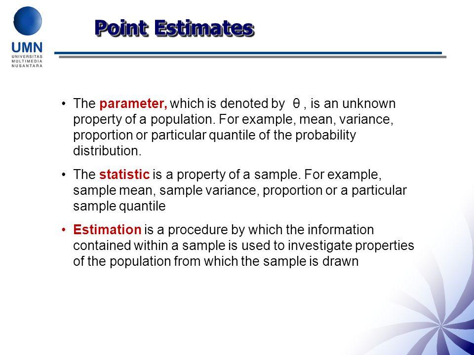 Point Estimates of Parameters Estimate Population Parameters ( ) ….